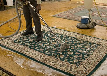 Worker cleaning a Persian rug